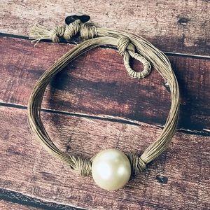 Multi Hemp Strand Boho Necklace with Large Pearl